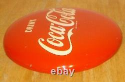 Vintage 1952 Drink Coca-Cola 16 Advertising Soda Button Sign Original (Dated)