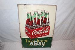 Vintage 1953 Coca Cola Take Home A Carton Soda Pop Bottle 28 Metal Sign
