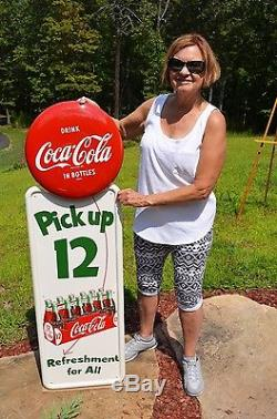 Vintage 1954 Coca Cola Soda Pick Up 12 Pilaster Sign 16 Button Dead Mint