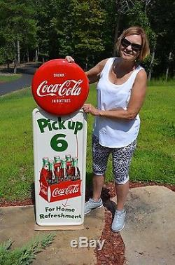 Vintage 1955 Coca Cola Soda Pick Up 6 Dead Mint Pilaster Sign With 16 Button