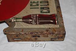 Vintage 1955 Coca Cola Soda Pop Bottle 2 Sided 23 Metal Flange Sign
