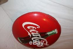 Vintage 1957 Coca Cola Button Soda Pop Bottle Gas Station 24 Curved Metal Sign