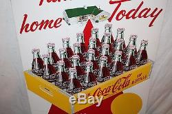 Vintage 1957 Coca Cola Soda Bottle Take A Case Home Today 28 Metal Sign