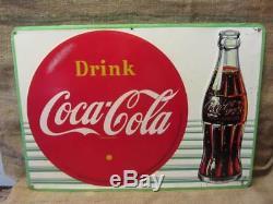 Vintage 1957 Embossed Coca-Cola Sign Antique Coke Soda Button Store RARE 9820