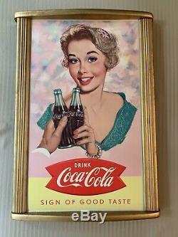 Vintage 1958 Coca Cola Cardboard MINT with Frame 16 x 27