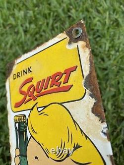 Vintage 1958 SQUIRT Soda Soft Drink Porcelain Coke Bottle Boy Store Gas Oil Sign