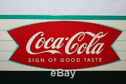 Vintage 1959 Coca Cola Fishtail Restaurant Menu Board Soda Pop 28 Metal Sign