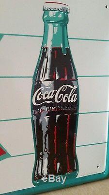 Vintage 1960, S Coke Coca Cola Tin Sign Near Mint