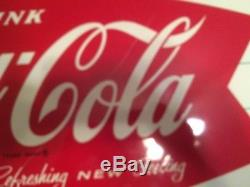 Vintage 1960's Coca Cola Fishtail Sign 12'' x 32''. M. C. A 2043. Must See