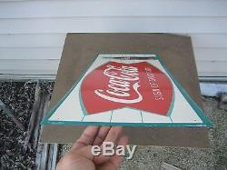 Vintage 1960's Coca-Cola Fishtail Soda Bottle 32 Metal Sign Coke Soda
