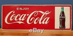 Vintage 1960's Coca Cola Soda Pop Bottle Gas Station 32 Metal SignNice