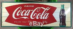 Vintage 1960's Fishtail Logo Coca-Cola Original Metal Sign