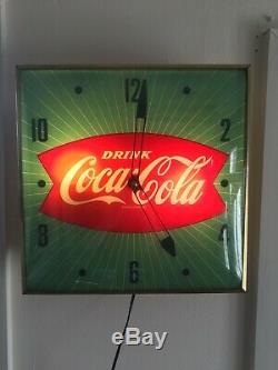 Vintage 1960's Green Coca Cola Fishtail Soda Pop 15 Lighted Pam Clock Works