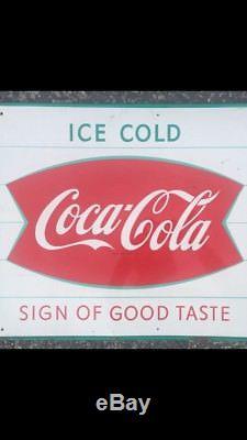 Vintage 1960s Fishtail Coca Cola Tin Sign Sign Of Good Taste Store Soda Coke