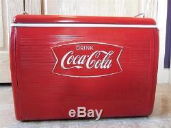 Vintage 1960s Metal & Plastic Coca-Cola Cooler Antique Coke Embossed Pop 7993