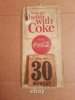 Vintage 1969 Coca Cola Things go Better with Coke Advertising Tin Sign Calendar