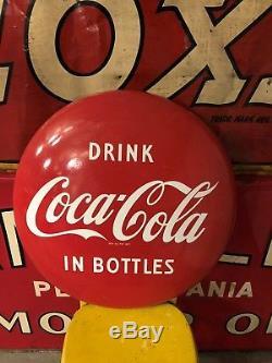Vintage 24 Coca Cola Coke Soda Porcelain Button Sign Drink In Bottles Version