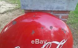 Vintage 36 Porcelain Coca Cola Button Sign Metal Advertising Sign