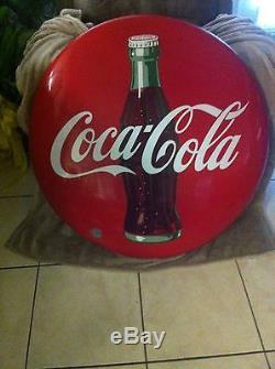 Vintage 36inch Porcelain Coca Cola Button Sign with Bottle