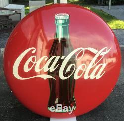 Vintage 48 Coca Cola Button Sign Drink Coca-Cola In Bottles Advertisement