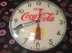 Vintage 50's Bubble Glass, Coca Cola Advertising (Bottle In Sun) Pam Clock, Sign