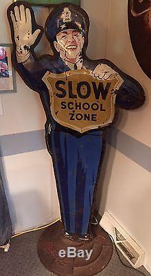 Vintage 50's coca cola school crossing guard sign