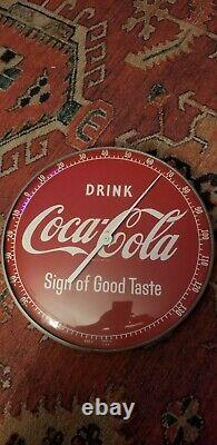 Vintage 50s 495A Drink Coke Sign of Good Taste Coca-Cola Pam Glass Thermometer