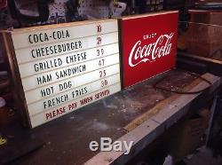 Vintage 60's COCA-COLA LIGHTED MENU BOARD SIGN