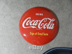 Vintage Advertising Sign-1950's Coca-cola Button Sign-16 In. Am28-vintage Diner