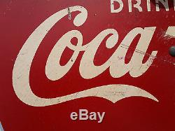 Vintage Antique 1930's Coca Cola DRINK ICE COLD SIGN with Bottle & Arrow coke