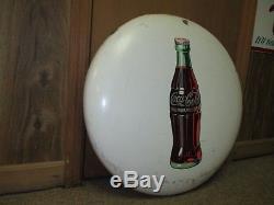 Vintage Antique COCA-COLA 24 Porcelain Button Sign withHobble Skirt BottleLQQK