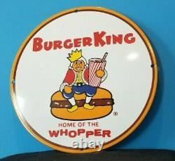 Vintage Burger King Porcelain Coca Cola Gas Beverage Service Station Sign