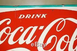 Vintage COCA COLA FISHTAIL & BOTTLE Old Original Tin Sign