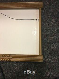 Vintage COCA COLA Wood Frame Sign For Cardboard With Metal Bottle KAY DISPLAY