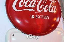 Vintage COKE TIN VERTICAL Sign DRINK COCA-COLA IN BOTTLES Diner Collectible