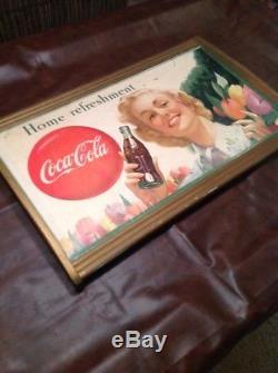 Vintage Cardboard LITHO Display Sign Original Frame 1949 coca cola Advertising