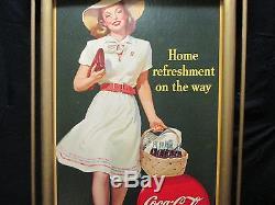 Vintage Coca Cola 1945 Cardboard Sign & Original Frame Exc Condition No Reserve