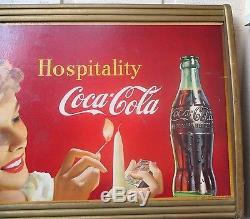 Vintage Coca Cola 1950 Cardboard Sign In Original Frame No Reserve