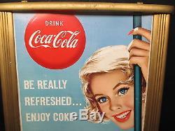 Vintage Coca Cola 1950's Cardboard Sign In Original Frame EXC. Cond. NO RESERVE