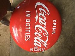 Vintage Coca Cola 1950s Antique 36 Round Button Porcelain Sign