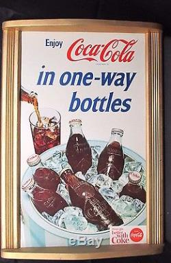 Vintage Coca Cola 1960's Cardboard Sign Diamond Label Bottles NO RESERVE