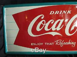 Vintage Coca Cola 1960's Refreshing New Feeling Sign Exc Condition No Reserve