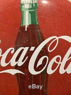Vintage Coca-Cola 24 Porcelain Button Sign with Coke Bottle