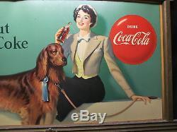 Vintage Coca Cola 2-Sided 1950 Cardboard Sign RARE Original Frame No Reserve