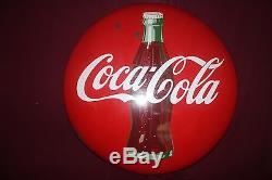 Vintage Coca Cola 36 Button Porcelain Metal Sign 1950's Advertising Coca Cola