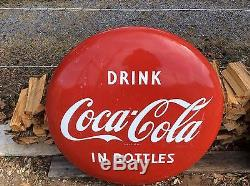 Vintage Coca Cola 36 In Bottles Button Sign old porcelain both sides