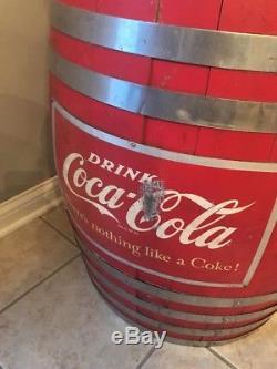 Vintage Coca Cola Barrel Soda Dispenser Fountain Cooler Sign Rare! 7up Coke