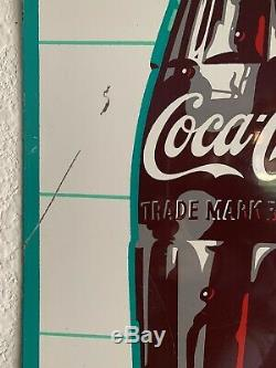 Vintage Coca Cola Big King Size Ice Cold Metal Sign Fish Tail