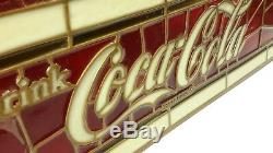 Vintage Coca-Cola Billiard Pool Table Plastic Faux Stained Glass Lamp Bar Light