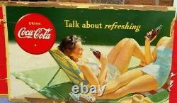 Vintage Coca-Cola Cardboard Sign Poster Lady Advertising Coke RARE 1960s